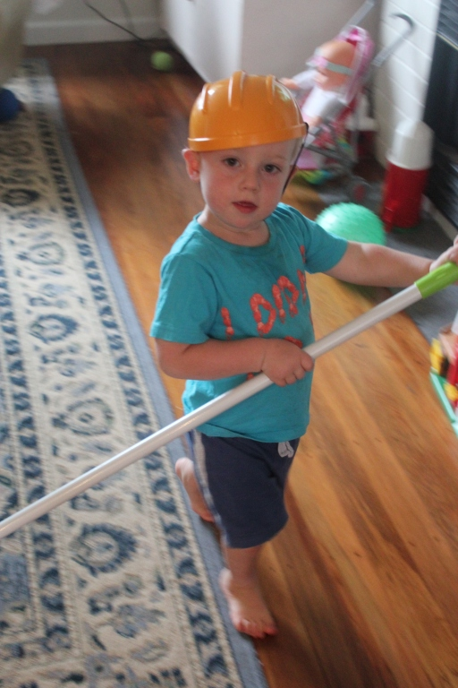 """Quick call to PlunketLine to check if my kid has cabin fever: """"No sign of a temperature but he is mopping the walls, wearing a hard hat."""""""