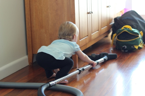At what age does the enthusiasm for helping with the cleaning disappear? Love her squat style, so low to the floor, so perfect for vacuuming.
